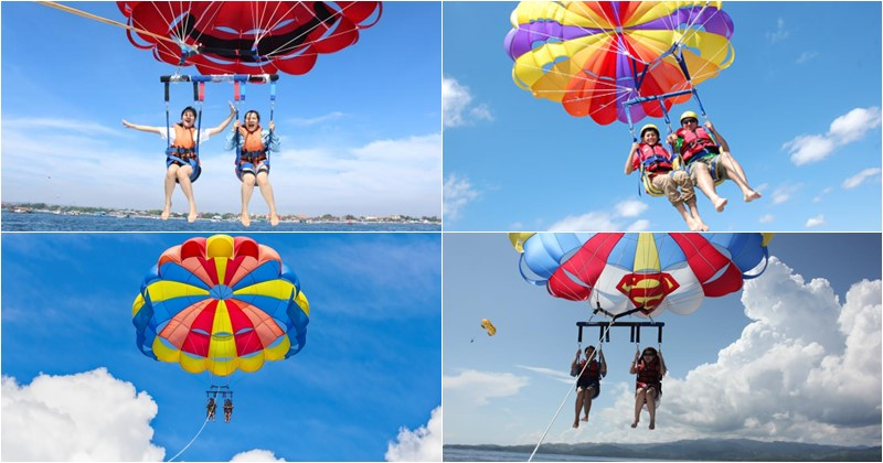 Cheap maritime adventure activity Tanjung Benoa Bali Tandem Parasailing 25
