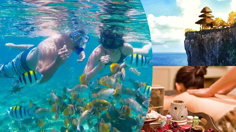 bali water sport package: snorkeling + uluwatu + spa